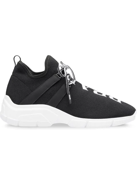 Prada Black Fabric Sneakers With Leather Inserts