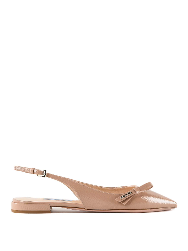 Prada Pink Patent Leather Slingback Flat Sandals