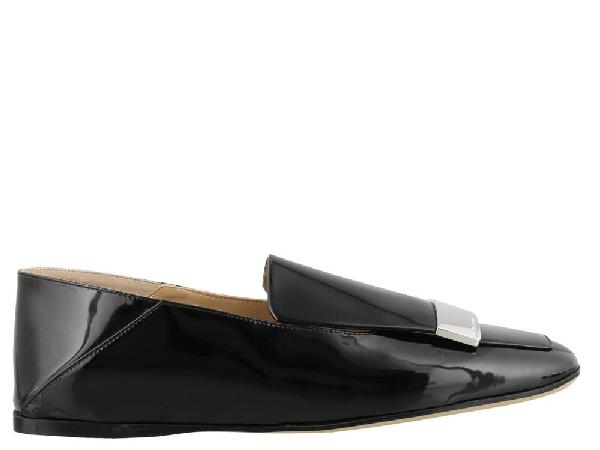 Sergio Rossi Sr1 Black Patent Leather Slippers