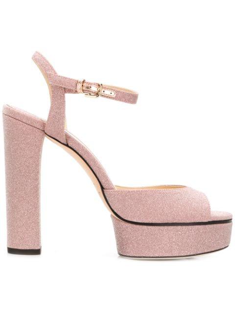 innovative design innovative design new arrival Jimmy Choo Peachy Light Pink Glitter Platform Sandals | ModeSens