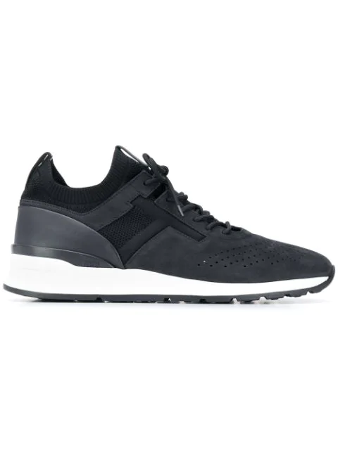 Tod's Black Suede And Fabric Lace Up Sneakers In B999 Black