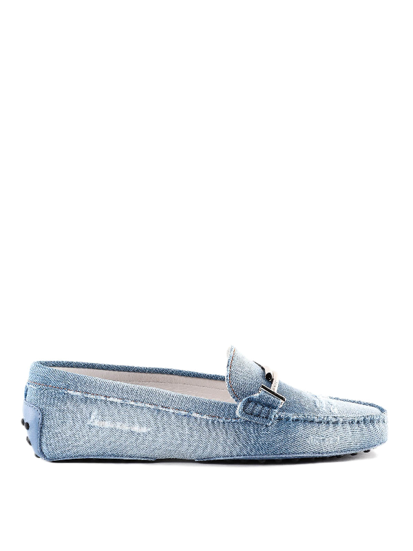 Tod's Double T Used Effect Denim Loafers In Blue