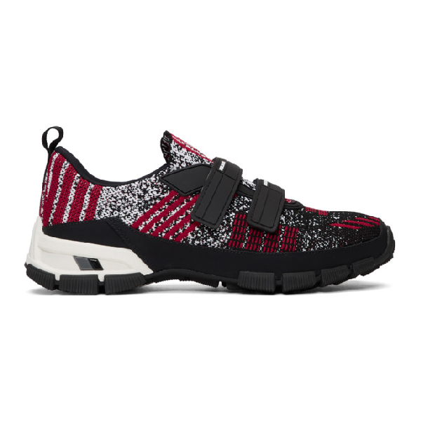 Prada Crossection Knit Black And Red Sneakers In F022c Ne/sc