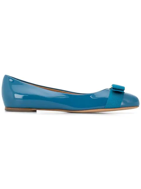 Salvatore Ferragamo Varina Cerulean Blue Patent Leather Flats