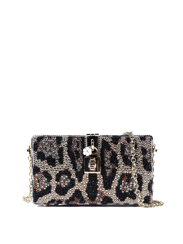 Dolce & Gabbana Dolce Box Crystal Animal Print Clutch