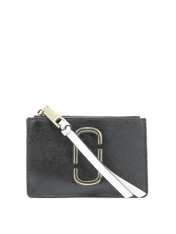 Marc Jacobs Top Zip Saffiano Leather Multi Wallet In Black