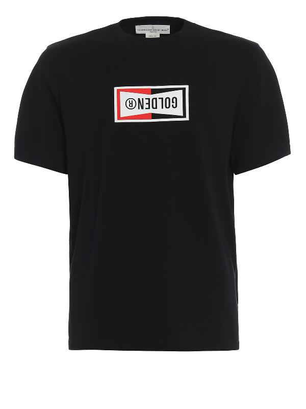 Golden Goose Reversed Logo Print Cotton T-Shirt In Black