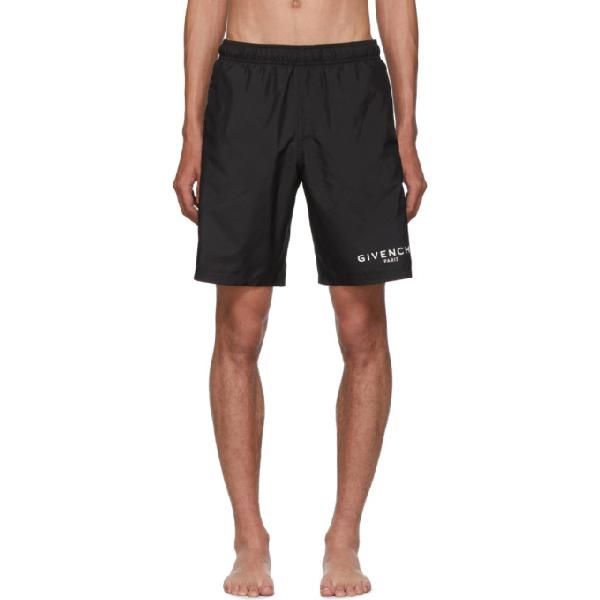 Givenchy Slim-fit Long-length Logo-print Swim Shorts In 001 Black