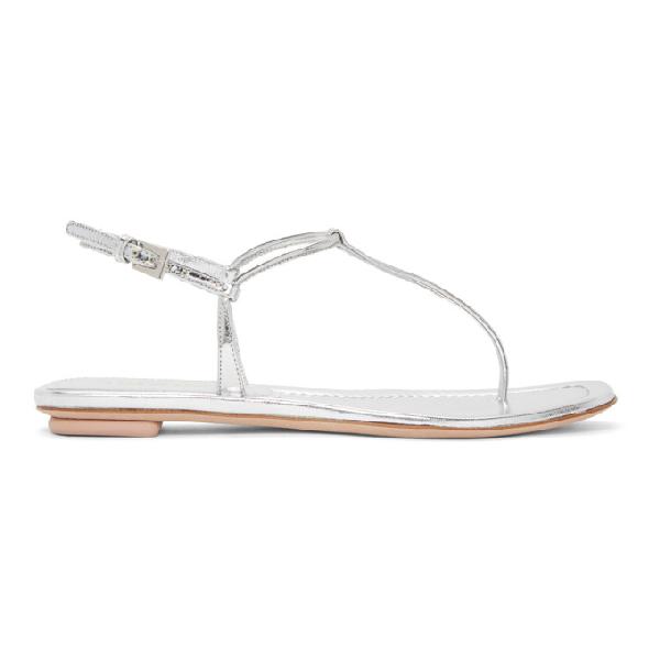 Prada Silver Laminated Leather Flat Sandals