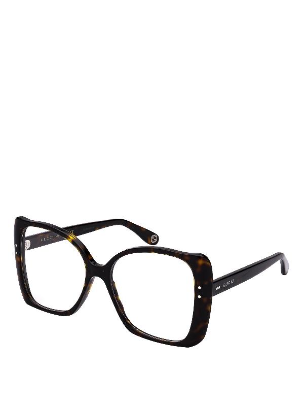 Gucci Dark Havana Square Butterfly Eyeglasses In Dark Brown