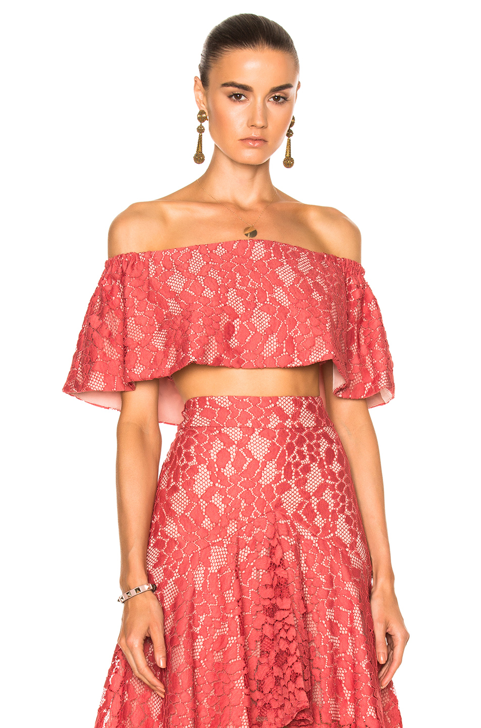 af4202d5f5f4c9 Alexis Woman Cropped Off-The-Shoulder Corded Lace Top Antique Rose In  Salmon Lace