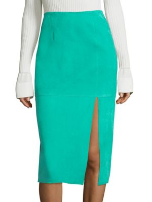 2ab0a7fe6 Diane Von Furstenberg Suede Side-Slit Pencil Skirt, Blue In Jade ...