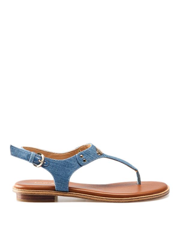 Michael Kors Alice Denim Thong Sandals In Light Blue