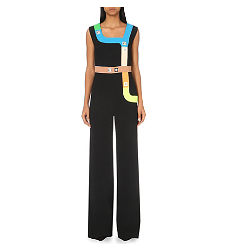 Peter Pilotto Woman Track Embellished Stretch-Cady Jumpsuit Black In Neon Black