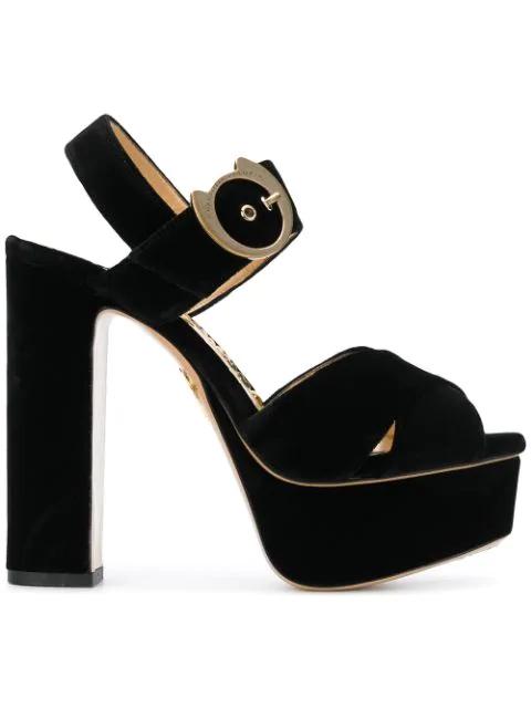 Charlotte Olympia Bejewelled Aristocat Velvet Platform Sandals In Black