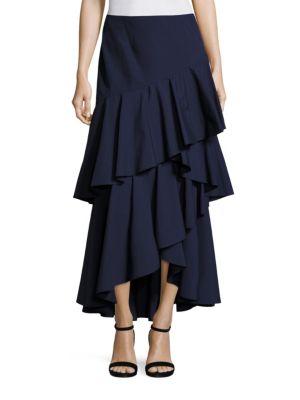 9bfa53ae68 Alice And Olivia Martina Asymmetric Ruffle High-Low Maxi Skirt, Blue In  Indigo