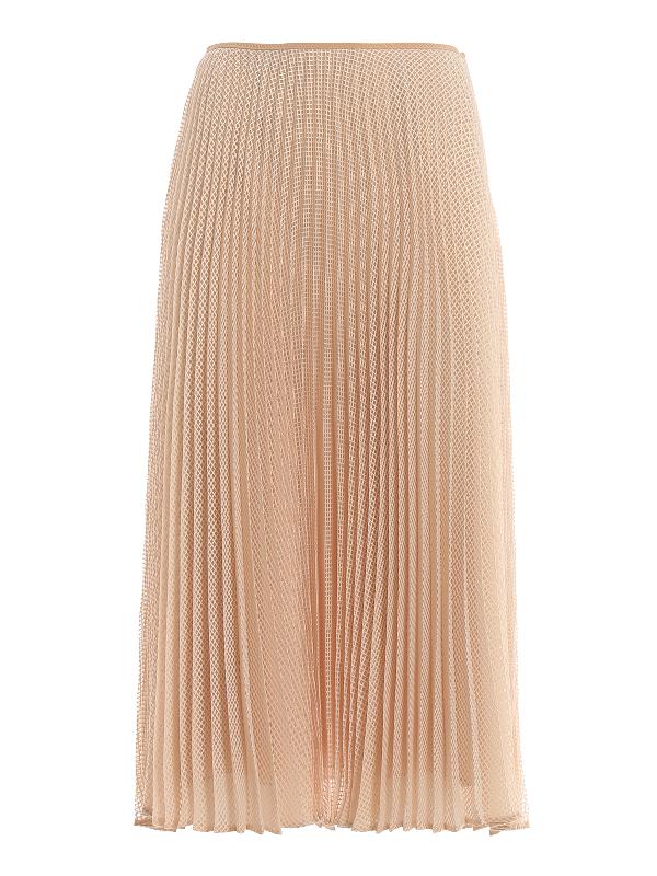 Fendi Light Pink Mesh Fabric Midi Skirt