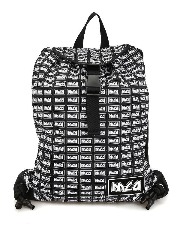Mcq By Alexander Mcqueen Mcq Print Nylon Sack Backpack In Black