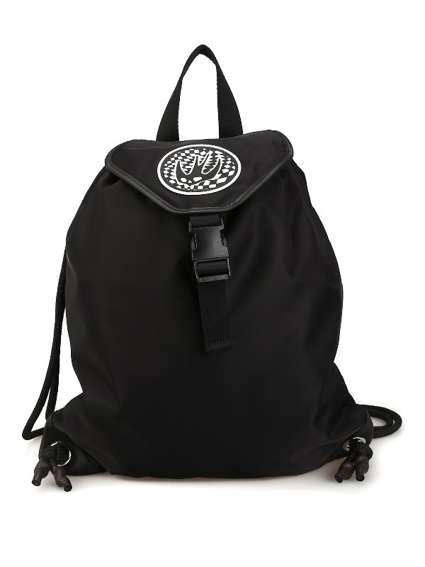Mcq By Alexander Mcqueen Swallow Patch Nylon Sack Backpack In Black