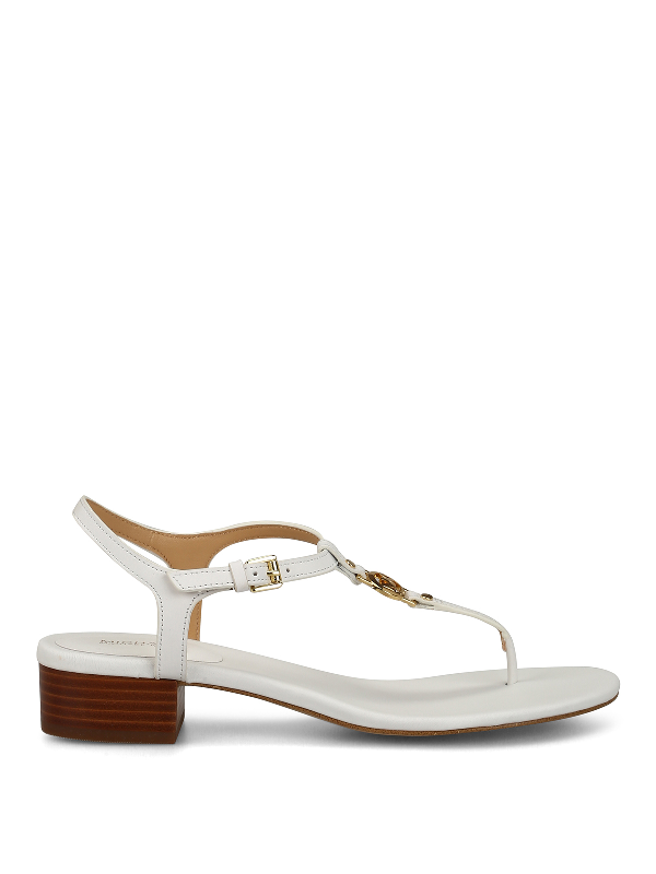 Michael Kors Cayla Mid White Leather Sandals