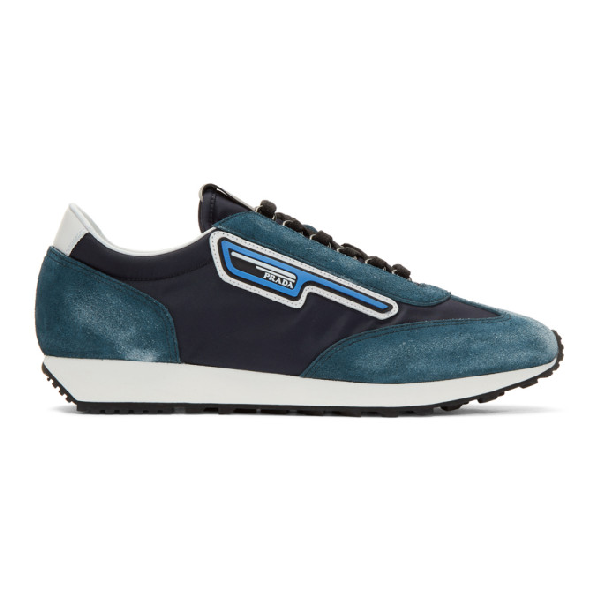 Prada Mln 70 Blue Fabric And Used Suede Sneakers In F0008 Navy