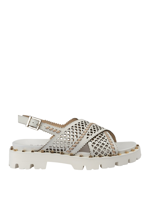 Baldinini White Perforated Leather Sandals