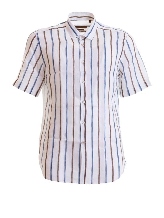 Corneliani Striped Linen Shirt In White