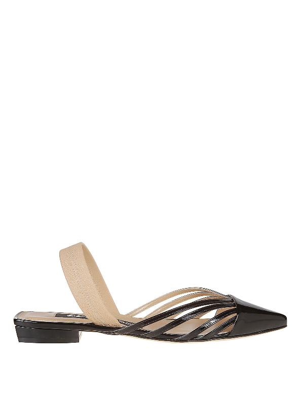 Sergio Rossi Sr Milano Patent Leather Flat Sandals In Black