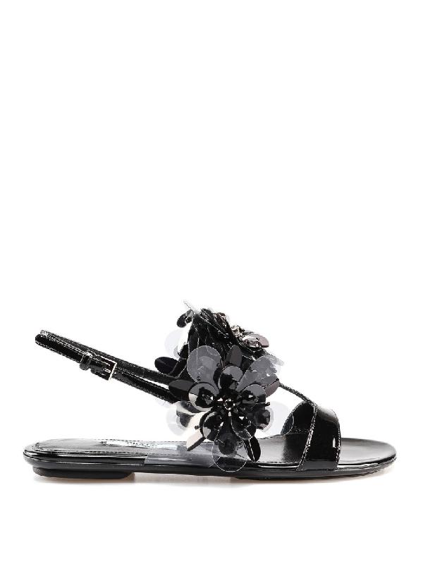Prada Patent Flat Sandals With Maxi Flowers In Black