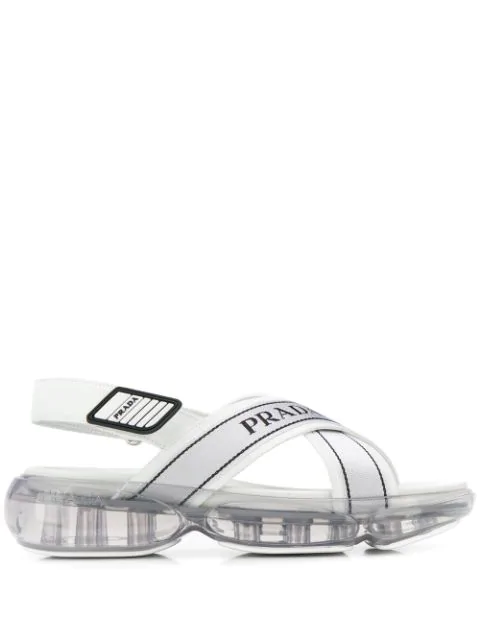 Prada Cloudbust Tech Fabric And Leather Sandals In F0009 Bianco