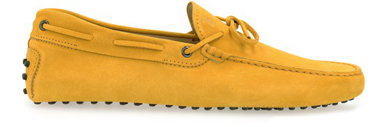 Tod's New Laccetto Mustard Yellow Suede Loafers In Zabaione