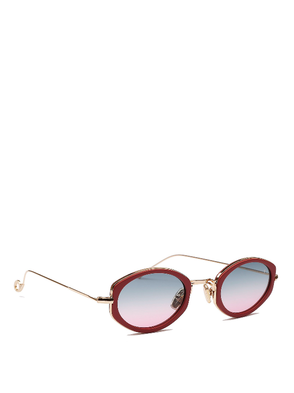Eyepetizer Grace Red Acetate And Metal Sunglasses In C.0-4-20