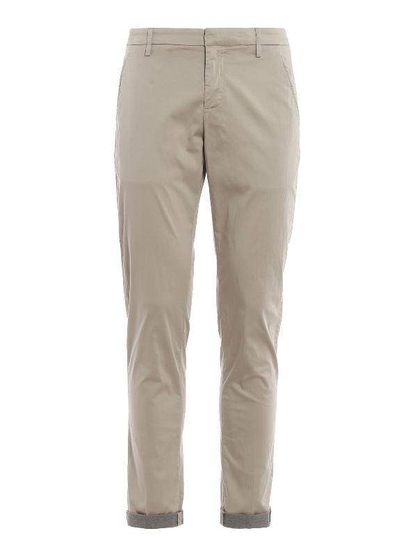 Dondup Gaubert Techno Cotton Trousers In Beige