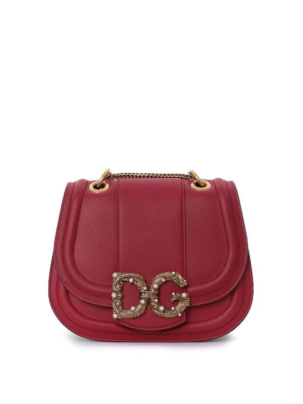 Dolce & Gabbana Dg Amore Red Calfskin Shoulder Bag