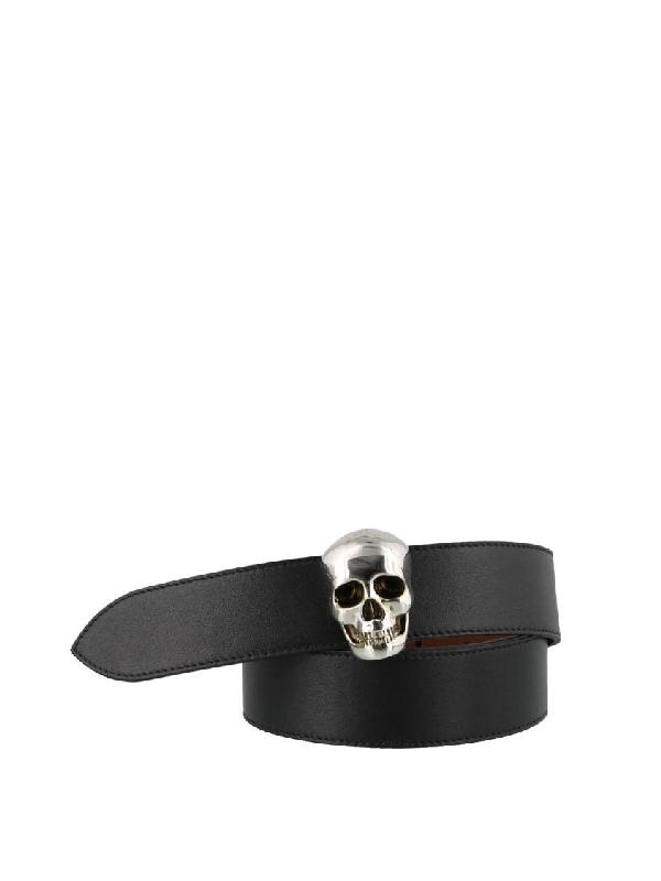 Alexander Mcqueen Skull Black Leather Belt