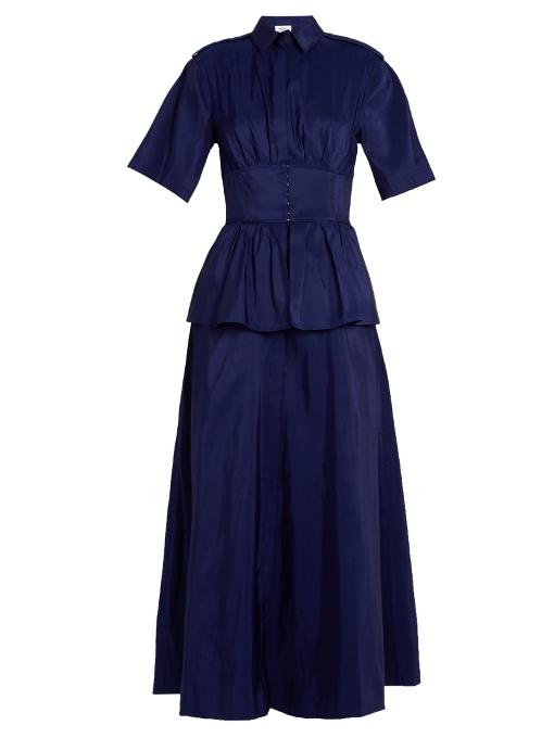 Rosie Assoulin Boogie Woogie Silk-Faille Dress In Indigo Blue