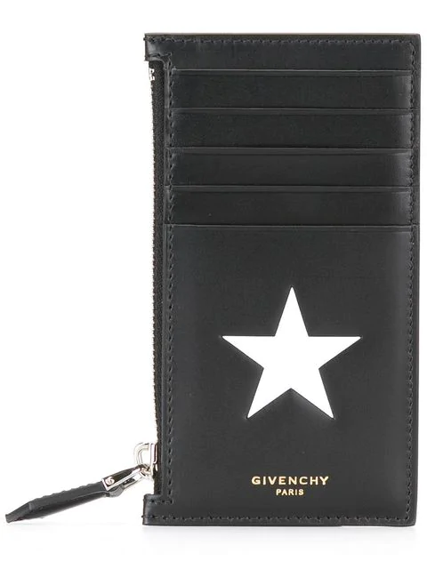 28d9ec00d8b First seen in Dec 2016. Givenchy Star-Embossed Leather Card Holder - Black  - One Siz