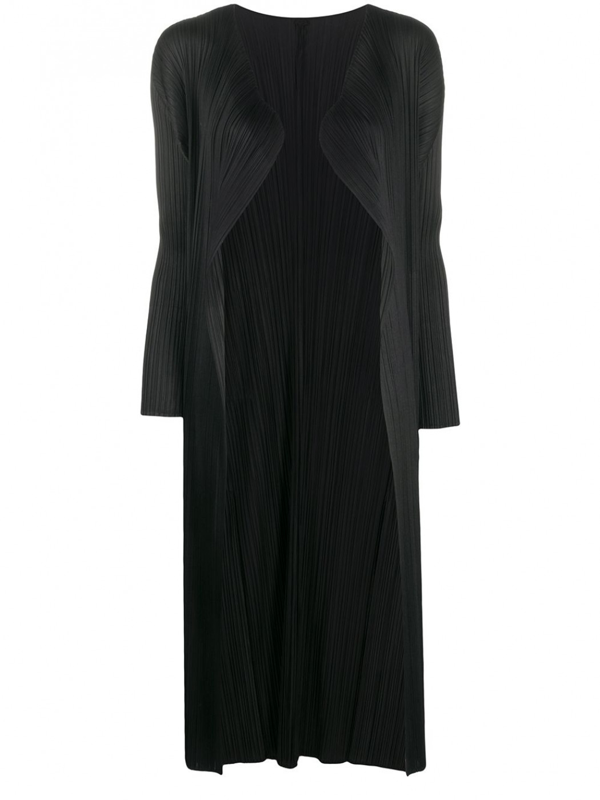 Pleats Please Issey Miyake Basic Semi-sheer Relaxed-fit Pleated Coat In Black