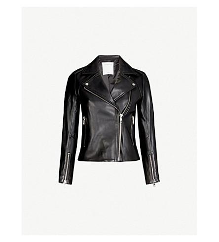 Sandro Leather Biker Jacket In Black