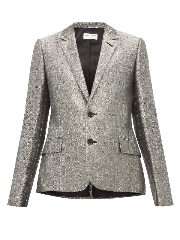 Saint Laurent Single-breasted Blazer In Silver