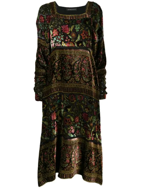 Etro Floral Paisley Embroidered Midi Dress In 1 Multi