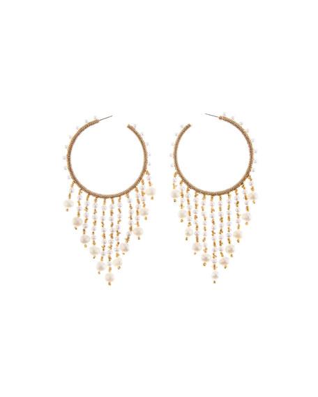 Oscar De La Renta Beaded Hoop Dangle Earrings In White