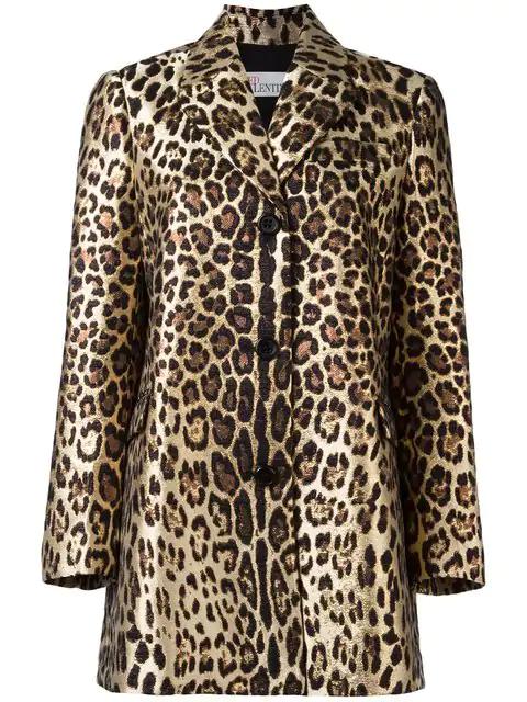 823d864fc4d7 Red Valentino Leopard Print Midi Coat In Animal Print | ModeSens