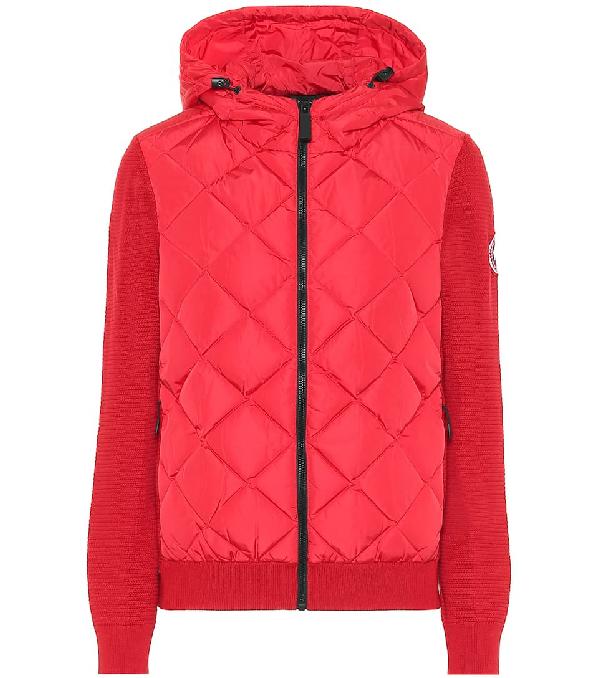 Canada Goose 'hybridge' Down Puffer Panel Merino Wool Zip Cardigan In Red