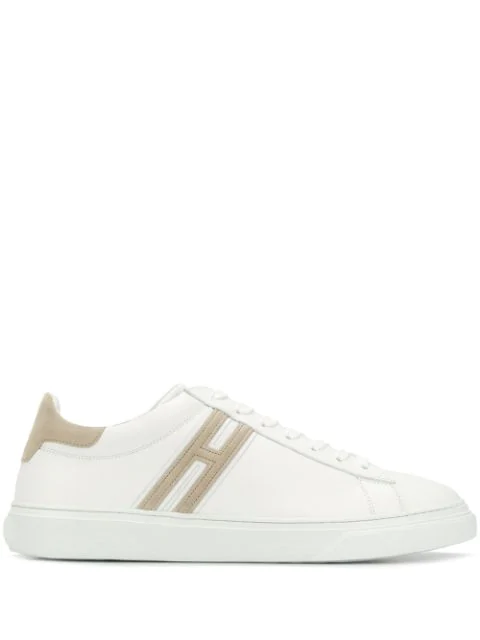 Hogan Two Tone Low Top Sneakers In White