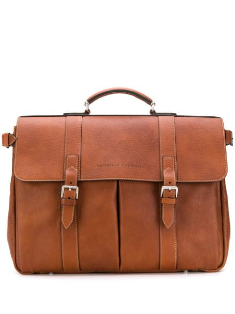Brunello Cucinelli Grained-leather Briefcase In Brown