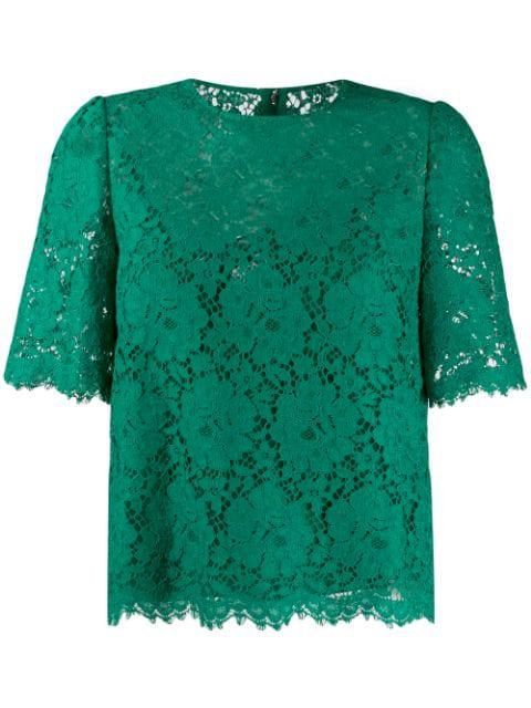 Dolce & Gabbana Cordonetto Lace Top In V0403 Green