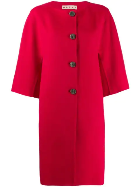 Marni Single Breasted Coat In Red