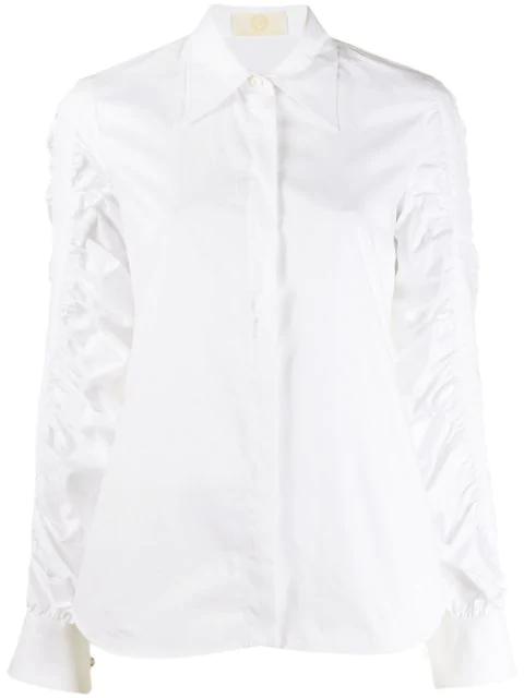 Sara Battaglia Blouson Sleeve Button-down Shirt In White