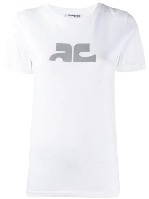 CourrÈGes Contrast Logo T-Shirt In White